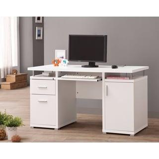 Elegant white Computer desk with efficient Storage