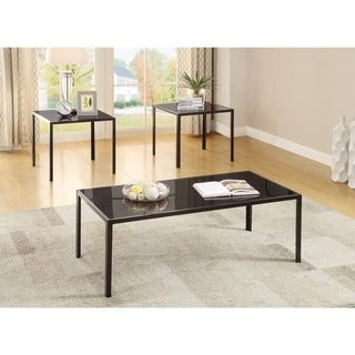 Charismatic Sleek 3 piece occasional Table set, Black