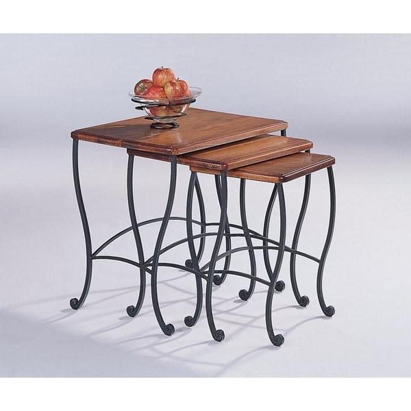 Benzara 3 Piece Golden Brown Wood Nesting Table Set