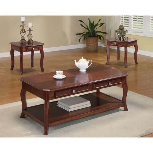 3 Piece Occasional Table Set with Parquet Top, Brown