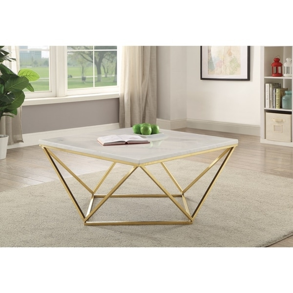 Faux White Marble Coffee Table Set: Shop Contemporary Faux Marble Coffee Table, White And Gold