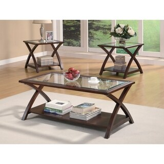 Appealing 3 piece occasional table set, Brown