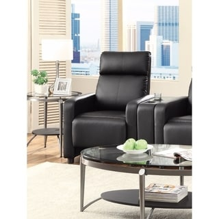 Modern Theater Seating Push-Back Recliner, Black