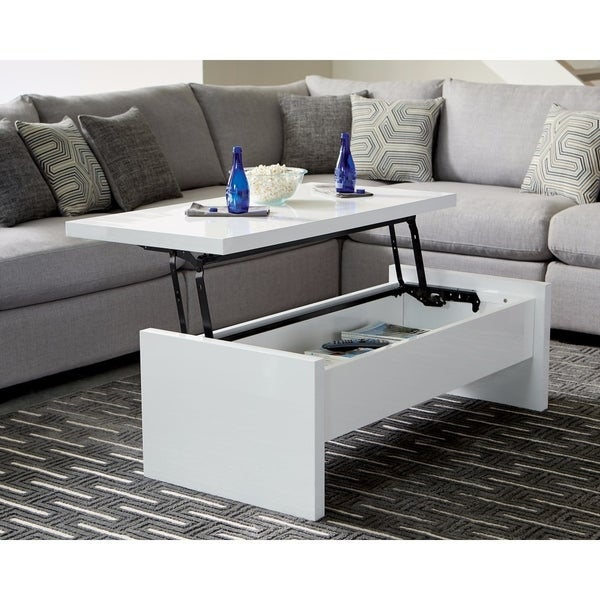 Merveilleux Modern Glossy Lift Top Coffee Table, White