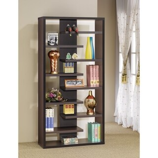 Expressive Wooden Bookcase with Center Back Panel, Brown
