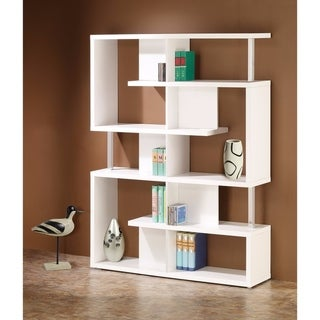 Splendid white bookcase With Chrome Support Beams
