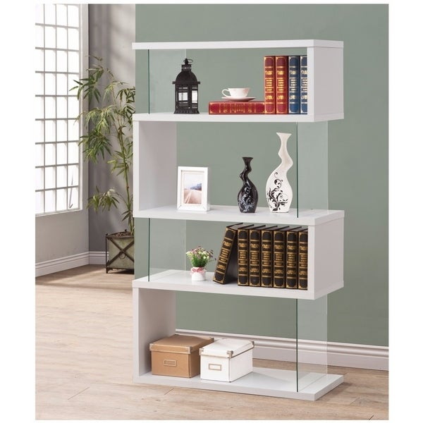 Fantastic Glossy White Wooden Bookcase Free Shipping Today 18853084