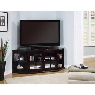 Benzara Espresso Brown Wood TV Console With Glass Doors