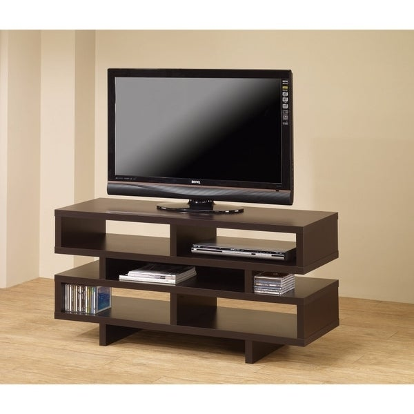 Amazing Contemporary TV Console With Open Storage, Brown