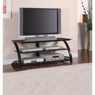 Benzara Black Metal and Glass 3-tier TV Console
