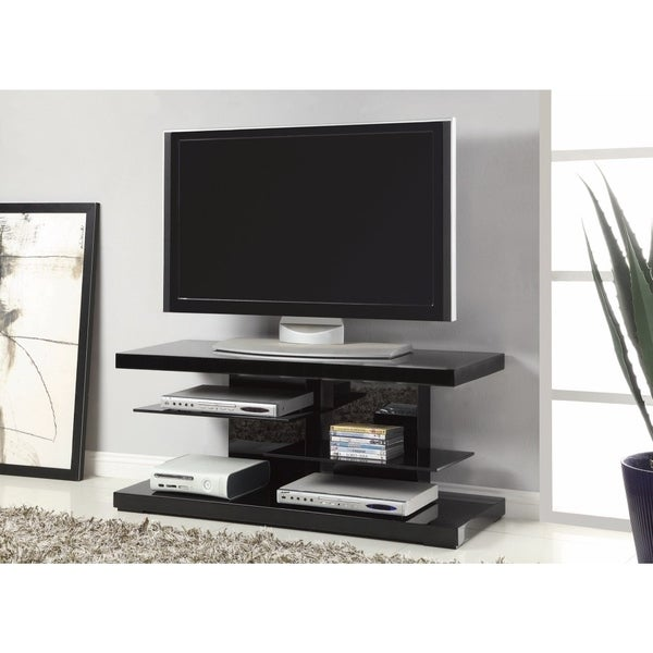 Shop Scintillating Modern Tv Stand With Alternating Glass Shelves