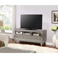 Metallic TV Console with Mirrored Accent, gray