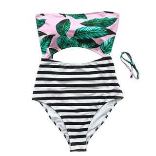 Cupshe Women's Leaves Printing Stripe Halter One-piece Padding Swimsuit with Cutout