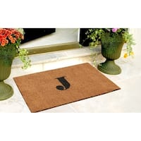 A1HC First Impression Plain 18 in. x 30 in. Coir Monogrammed Door Mat