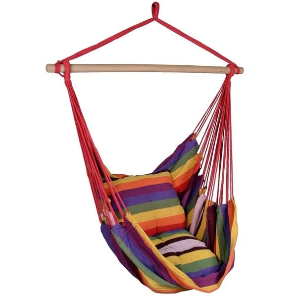 Gentil Distinctive Cotton Canvas Hanging Rope Chair With Pillows Rainbow