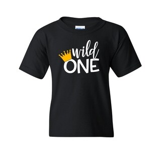 Wild One Kid's or Toddlers Black Funny T-shirt with Saying