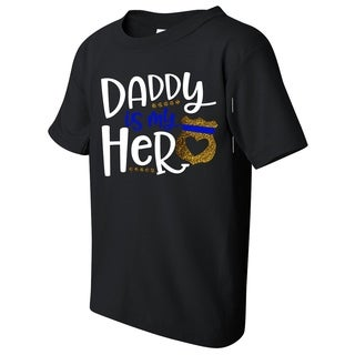 Daddy Is My Hero Fireman Kid's Black Funny T-shirt