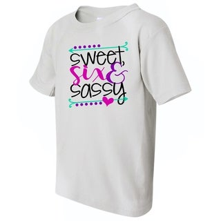 Sweet, Six and Sassy Kid's Funny White T-shirt with Saying