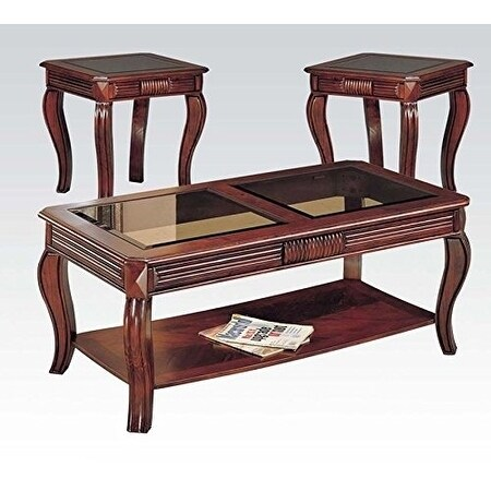 Shop Overture Coffee End Table Set Cherry Brown Pack Of 3 Pieces