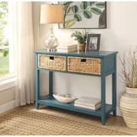 Flavius Console Table with 2 Drawers, Blue