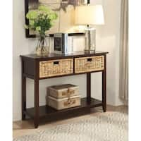 Flavius Console Table with 2 Drawers, Espresso Brwon