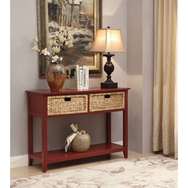 Benzara Flavius Red Wood 2-drawer Console Table