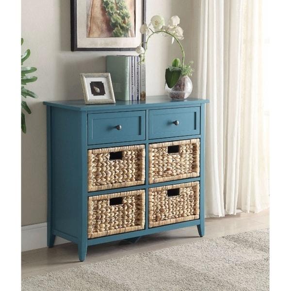 Benzara Flavius Blue 6-drawer Console Table