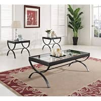 Quintin Coffee/End Table Set, Black & Clear Glass, Pack of 3 Piece
