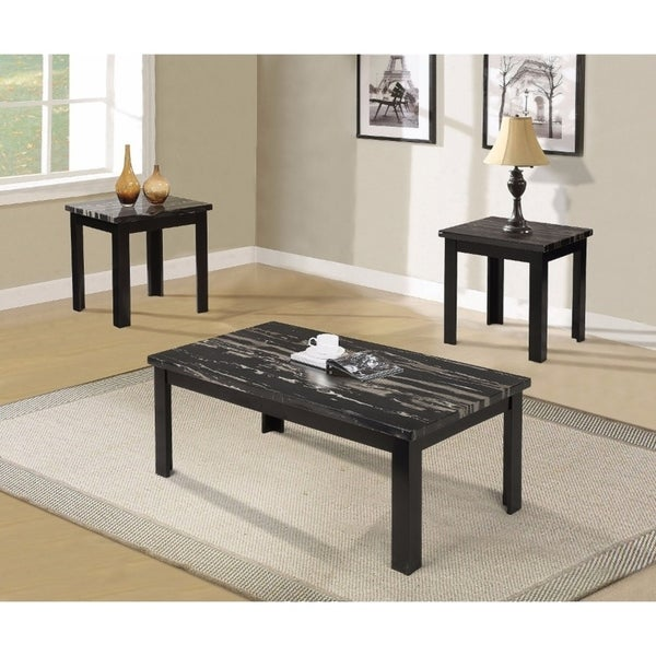 Benzara Black Faux Marble Coffee and End Tables (Set of 3)