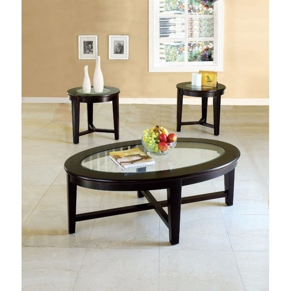 Kort Coffee/End Table Set, Espresso Brown, Pack of 3 Pieces