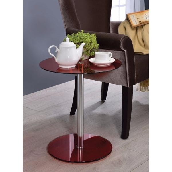 Halley End Table, Red Glass & Chrome