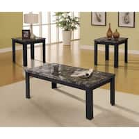 Carly Coffee/End Table Set, Black, Pack of 3 Piece