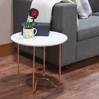 Canty End Table, White & Rose Gold