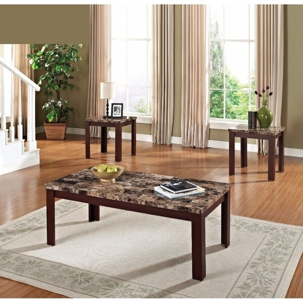 Benzara Finely Brown Faux Marble Coffee And End Tables (Set Of 3)