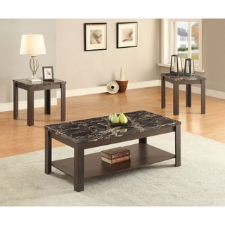 Benzara Afton Black Faux Marble Coffee and End Tables (Set of 3)