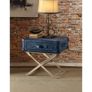 Aberdeen End Table Vintage Blue Top Grain Leather