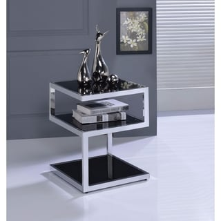 Alyea End Table, Black Glass & Chrome