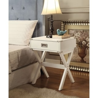 Square End Table, White