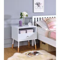 Sonria II End Table, White & Natural