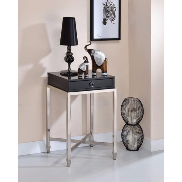 Belinut End Table With 1 Drawer, Black & Brushed Nickel