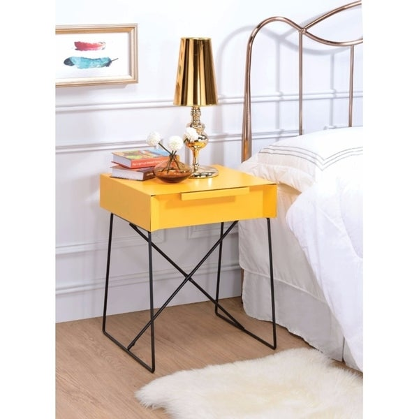 Benzara Gualacao Yellow Metal End Table