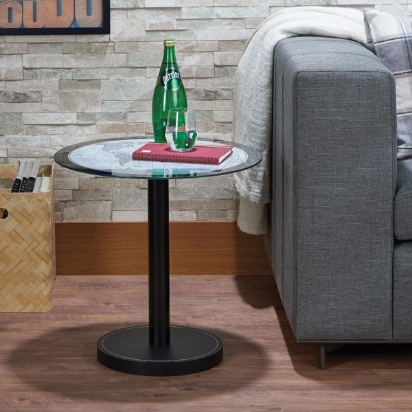 Benzara Boli Round Black Metal and Glass End Table