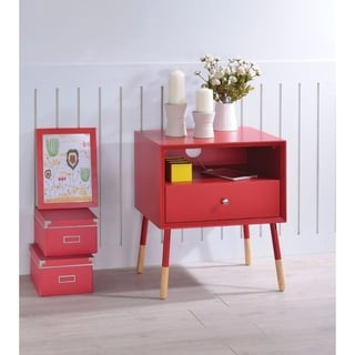 Sonria II End Table, Red & Natural