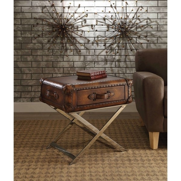 Aberdeen End Table, Vintage Mocha (Brown) Top Grain Leather