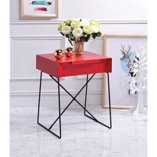 Benzara Gualacao Red Wood End Table