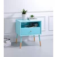 Sonria II End Table, Light Blue & Natural