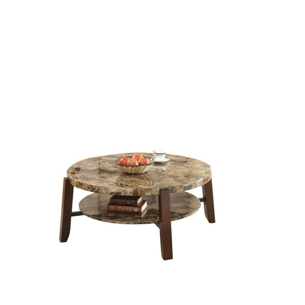 Soothing Coffee Table, Faux Marble & Cherry Brown