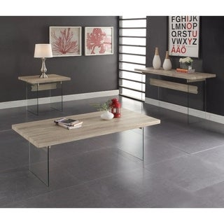 Benzara Conventional Clear Glass / Oak Brown Coffee Table