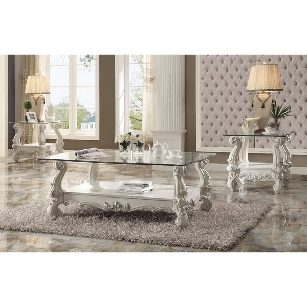 Kingly Coffee Table, Bone White & Clear Glass