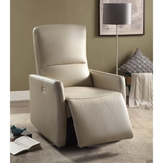 Raff Recliner (Power Motion), Beige Leather-Aire